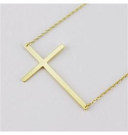 Cool and Interesting Gold Large Sideways Cross Necklace