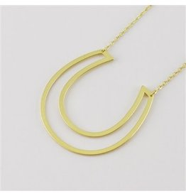 Cool and Interesting Gold Horseshoe Sideways Necklace