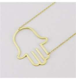 Cool and Interesting Gold Large Sideways Hamsa Necklace
