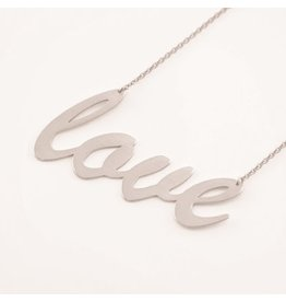 Cool and Interesting Silver Larege Sideways Love Necklace