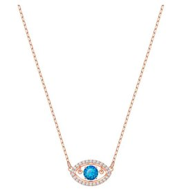 Swarovski Luckily Evil Eye Necklace, Multi-Colored, Rose Gold Plating