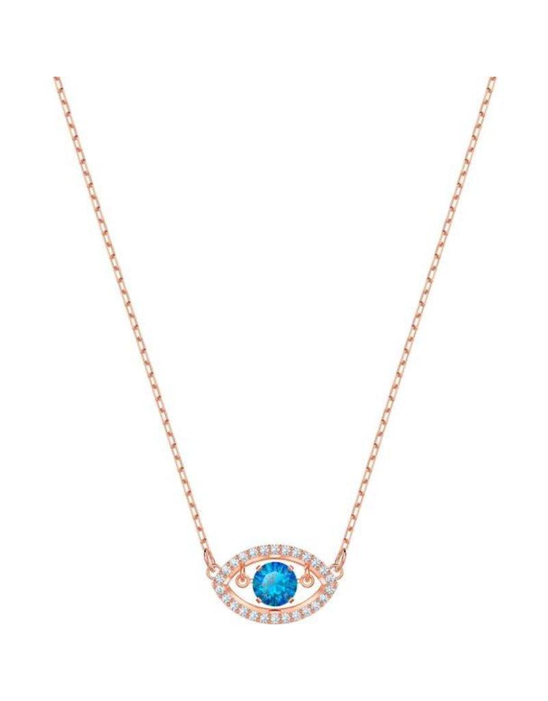Swarovski Luckily Evil Eye Necklace, Multi-Colored, Rose Gold Plating