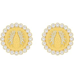 Swarovski Lucky Goddess Clip Earrings, White, Gold Plating