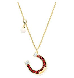Swarovski Lucky Goddess Horseshoe Necklace, Multi-Colored, Gold Plating