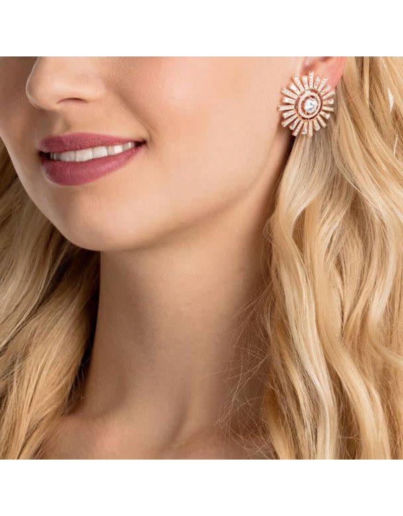 Swarovski Oversized Sunshine Clip Earrings, Rose Gold Plating