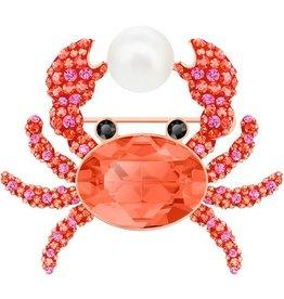 Swarovski Ocean Brooch Crab, Multi-colored, Rose Gold Plating