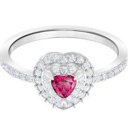 Swarovski One Ring Medium, Red, Rhodium Plating, Size 55 (US 7)