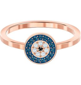 Swarovski Luckily Round Ring, Multi-Colored, Rose Gold Plating, Size 55 (US 7)