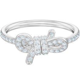 Swarovski Lifelong Small Bow Ring, White, Rhodium Plating, Size 50 (US 5)