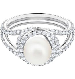 Swarovski Originally Cocktail Ring, White, Rhodium Plating, Size 52 (US 6)