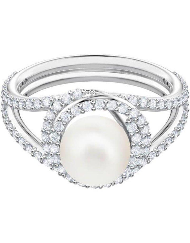 Swarovski Originally Cocktail Ring, White, Rhodium Plating, Size 52 (US 6)