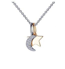 "Lafonn Two-Tone Shadow Moon-N-Star Charm Necklace, 0.17 CTTW (20"")"