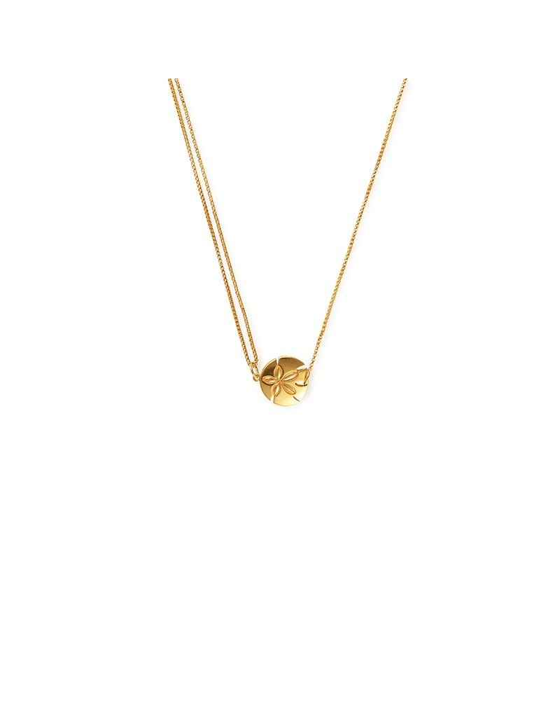 Alex and Ani Providence Pull Chain Necklace, Sand Dollar, 14Kt Gold Plated