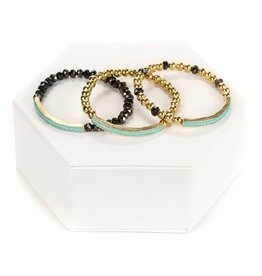 Tess Morgan Jewelry Gold/Black Beaded w/ Turquoise Bar Bracelet Set