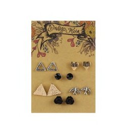 Tess Morgan Jewelry Silver/Gold Love Heart & Triangle Earring Set
