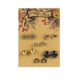 Tess Morgan Jewelry Gold Bird/Eye/Pyramid Earring Set