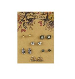 Tess Morgan Jewelry Silver/Gold Star & Leaf & Triangle Earring Set