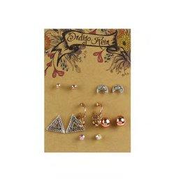 Tess Morgan Jewelry Silver/Rose Triangle & Moon Earring Set