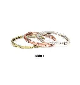 Tess Morgan Jewelry Multi-tone Live/Love/Dance As Stretch Bracelet Set