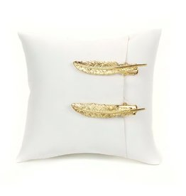 Tess Morgan Jewelry Gold Feather Hair Clip Set