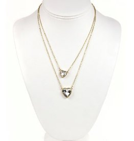 Tess Morgan Jewelry Gold Double Layered Heart Stone Necklace
