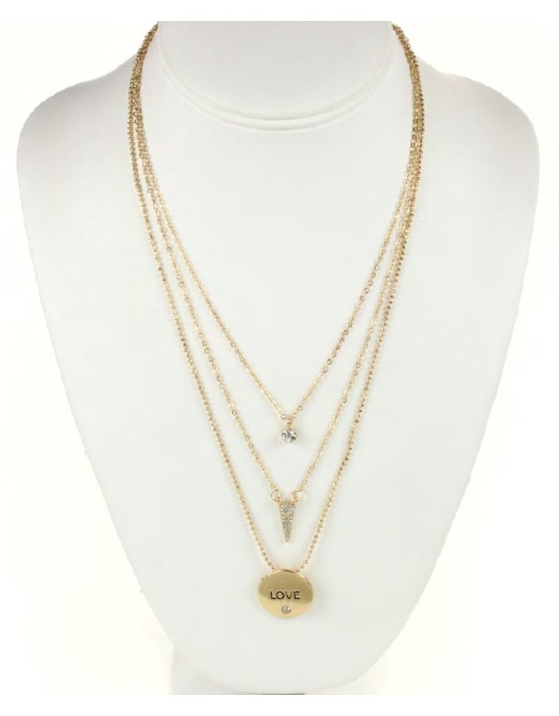 Tess Morgan Jewelry Gold Triple Layered Clear Love Necklace