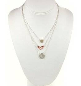 Tess Morgan Jewelry Two-Toned Triple Layered Peace/Love Necklace