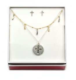 Tess Morgan Jewelry Two-tone Double Layered Cross Necklace/Earring Set