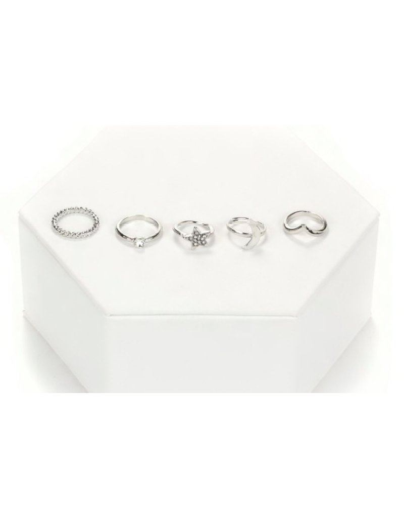 Tess Morgan Jewelry Silver Star/Moon 5 Ring Set