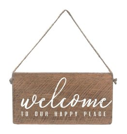 Rustic Marlin Mini Plank - Welcome To Our Happy Place, Natural, White