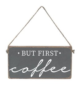Rustic Marlin Mini Plank, But First Coffee - Grey, White
