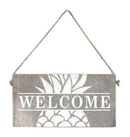 Rustic Marlin Mini Plank - Welcome Pineapple - Grey Wash, White