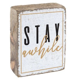 Rustic Marlin Rustic Block, Stay Awhile - White, Black, Gold