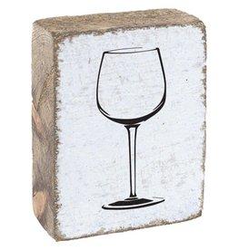 Rustic Marlin Rustic Block Wine Glass - White Black