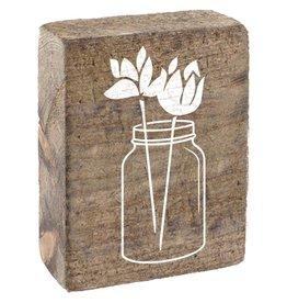 Rustic Marlin Rustic Block, Mason Jar - Natural, White