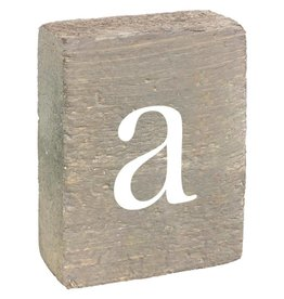 Rustic Marlin Rustic Block, Lowercase Letter A - Grey Wash, White, Belle Font