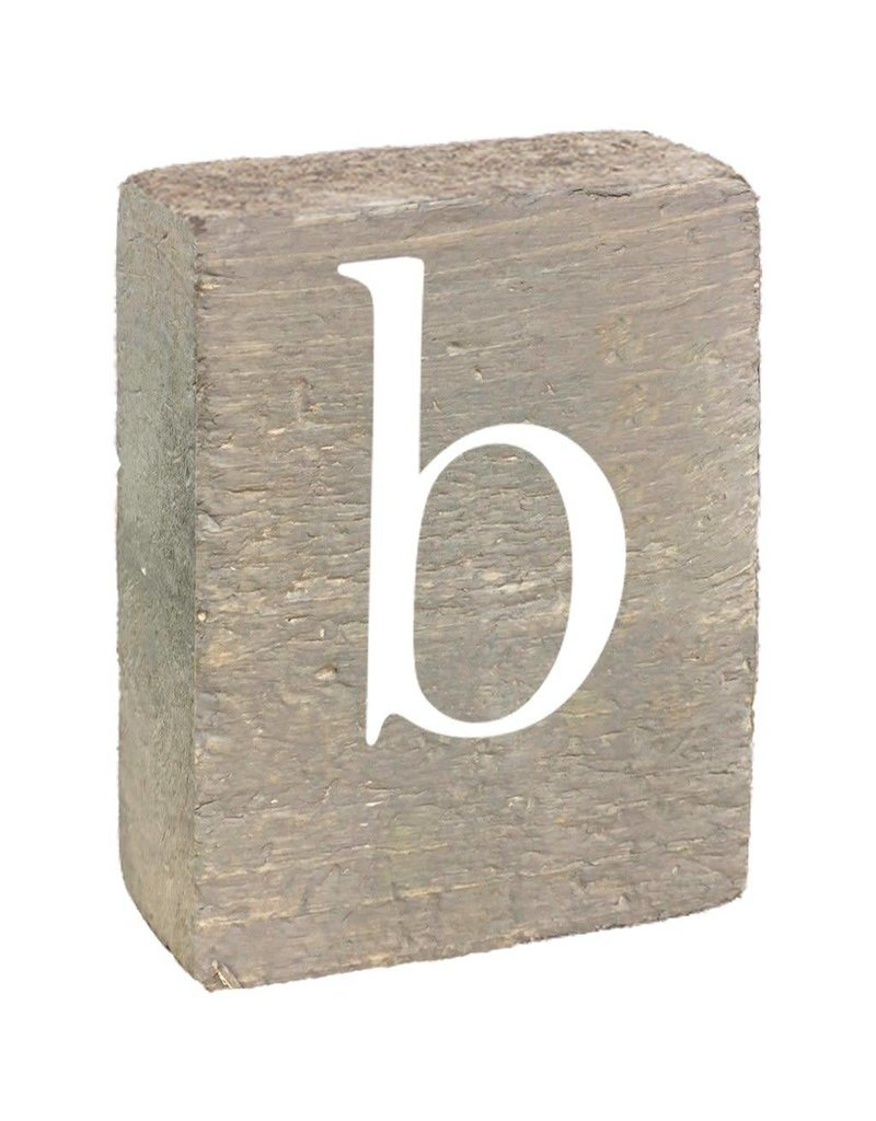 Rustic Marlin Rustic Block, Lowercase Letter B - Grey Wash, White, Belle  Font