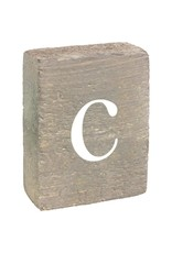 Rustic Marlin Rustic Block, Lowercase Letter C - Grey Wash, White, Belle Font