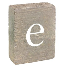 Rustic Marlin Rustic Block, Lowercase Letter E - Grey Wash, White, Belle Font