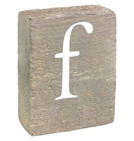 Rustic Marlin Rustic Block, Lowercase Letter F - Grey Wash, White, Belle Font
