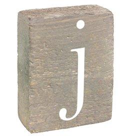 Rustic Marlin Rustic Block, Lowercase Letter J - Grey Wash, White, Belle Font
