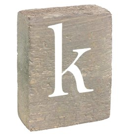 Rustic Marlin Rustic Block, Lowercase Letter K - Grey Wash, White, Belle Font