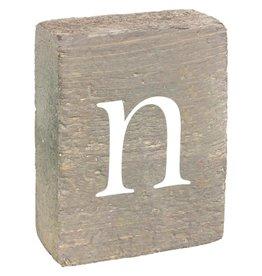 Rustic Marlin Rustic Block, Lowercase Letter N - Grey Wash, White, Belle Font