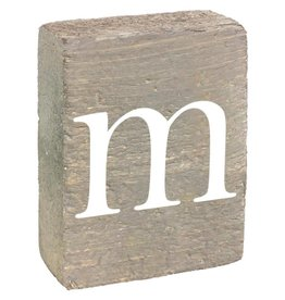 Rustic Marlin Rustic Block, Lowercase Letter M - Grey Wash, White, Belle Font