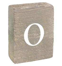 Rustic Marlin Rustic Block, Lowercase Letter O - Grey Wash, White, Belle Font