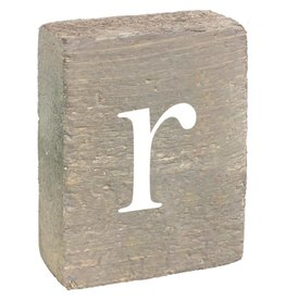 Rustic Marlin Rustic Block, Lowercase Letter R - Grey Wash, White, Belle Font