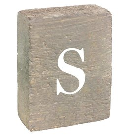 Rustic Marlin Rustic Block, Lowercase Letter S - Grey Wash, White, Belle Font