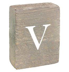 Rustic Marlin Rustic Block, Lowercase Letter V - Grey Wash, White, Belle Font