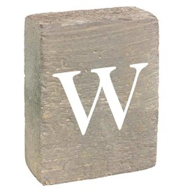 Rustic Marlin Rustic Block, Lowercase Letter W- Grey Wash, White, Belle Font