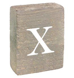 Rustic Marlin Rustic Block, Lowercase Letter X - Grey Wash, White, Belle Font